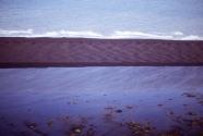 Oblique aerial shot of eolian transverse dunes.