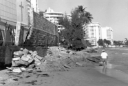 'Emergency' seawall constructed from construction debris and cemetery headstones (left end of wall) in the San Juan Puerto Rico area.