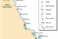 Major headlands along the Gulf coasts of Kuwait and Saudi Arabia.