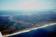 An aerial view of Outer Cape Cod. The Pamet River valley is the low area to the left of center. This is the last vestige of the rivers that carried sand from the melting ice to the east (bottom) into Glacial Lake Cape Cod Bay (to the top).