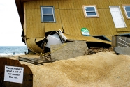 A damaged beachfront home in kitty Hawk.