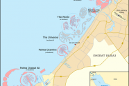 Map, Palm Jebel Ali, Palm Jumeirah, Palm Deira, The World, The Universe, Waterfront, January 20th, 2010.
