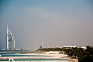 Burj Al Arab stands on an artificial island 280 m (920 ft) out from Jumeirah beach.