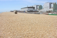 Dungeness Beach, UK. This chalk/flint beach is maintained by trucks every day to protect the 4 nuclear power plants behind the beach. Photo: Joe Kelley.