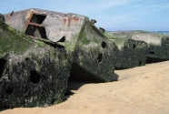 Relics left over from the D-Day invasion at Omaha Beach.