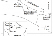 Map of the Omaha Beach area for the D-Day landing.