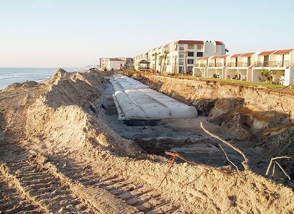 Massive sand tubes being constructed in Walton County, Florida