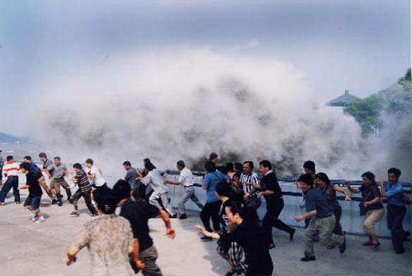 Famous Qiantang River Tidal Bore in China