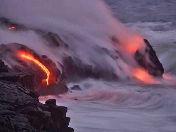 Kilauea Lava Enters the Ocean, Expanding Coastline