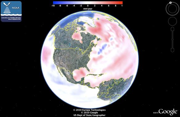 noaa sea level rise trend