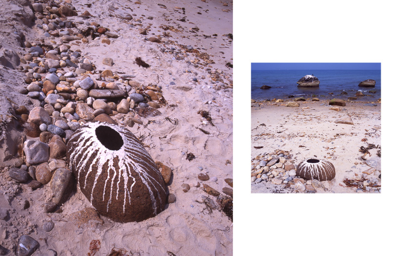 Black Earth, White Clay, Granite Boulder, Martha's Vineyard; By Andy Goldsworthy
