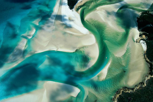 Sandbank On The Coast Of Whitsunday Island, Queensland, Australia; By Yann Arthus-Bertrand