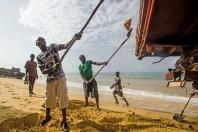 Jobless Youths Revert to Beach Sand Mining, John Obey Beach, Sierra Leone