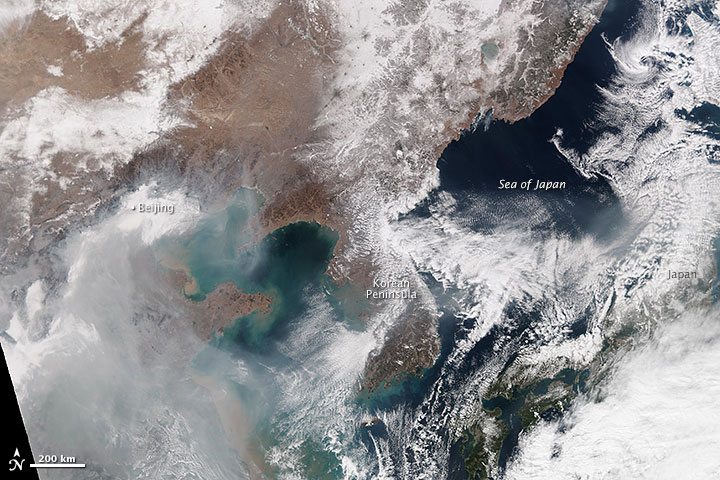 Haze Blows Across Northeastern Asia