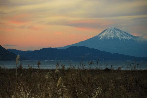 Admiring Mount Fuji From a Black-Sand Beach