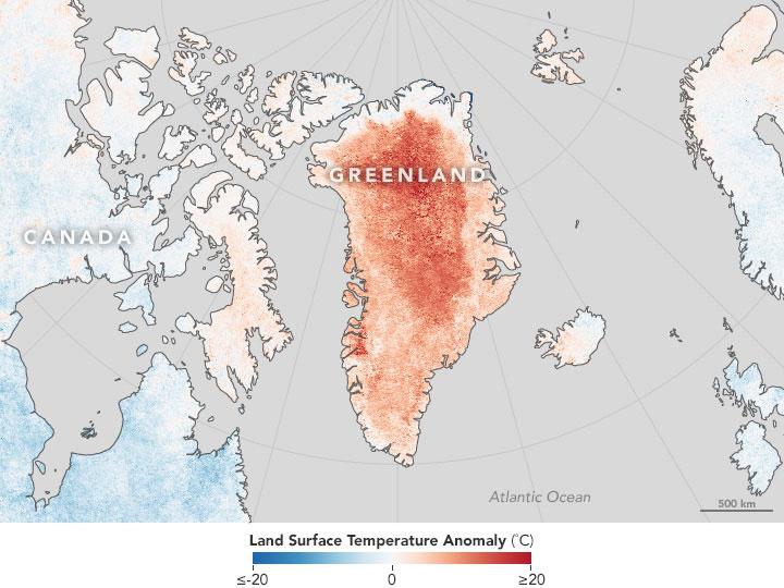 Widespread Warmth Envelops Greenland