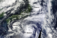Three Tropical Systems Spin Near Japan At Once; Typhoon Mindulle Strikes Tokyo