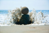 """Afternoon, Muir Beach, California. Sand globe perched on a rock as the tide comes in;""  By Zach Pine"