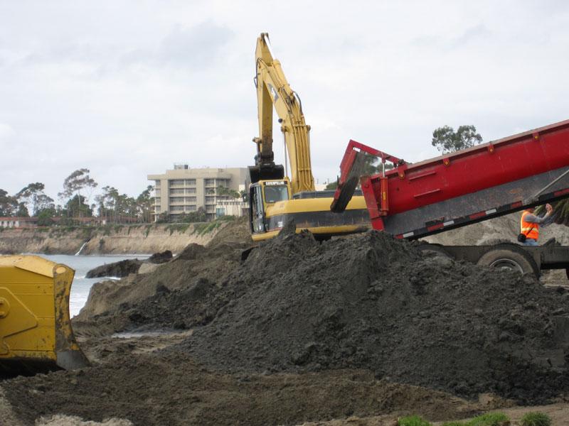 Goleta Beach vs. Winter Swells, CA