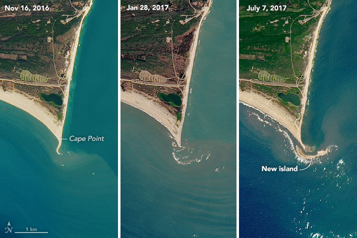 While a new island grew, southern Hatteras was shrinking, NC