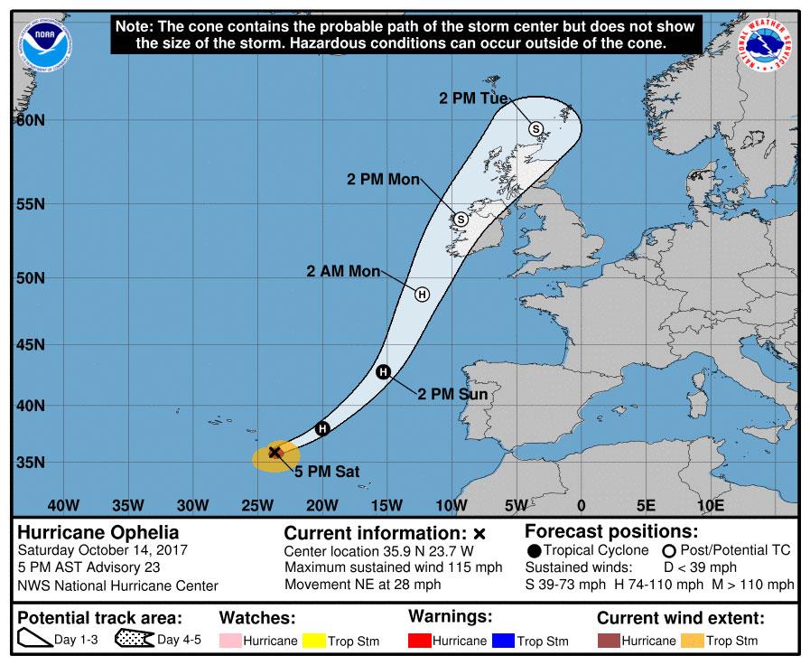 Hurricane Ophelia strengthens to major Category 3 storm, barreling toward Ireland