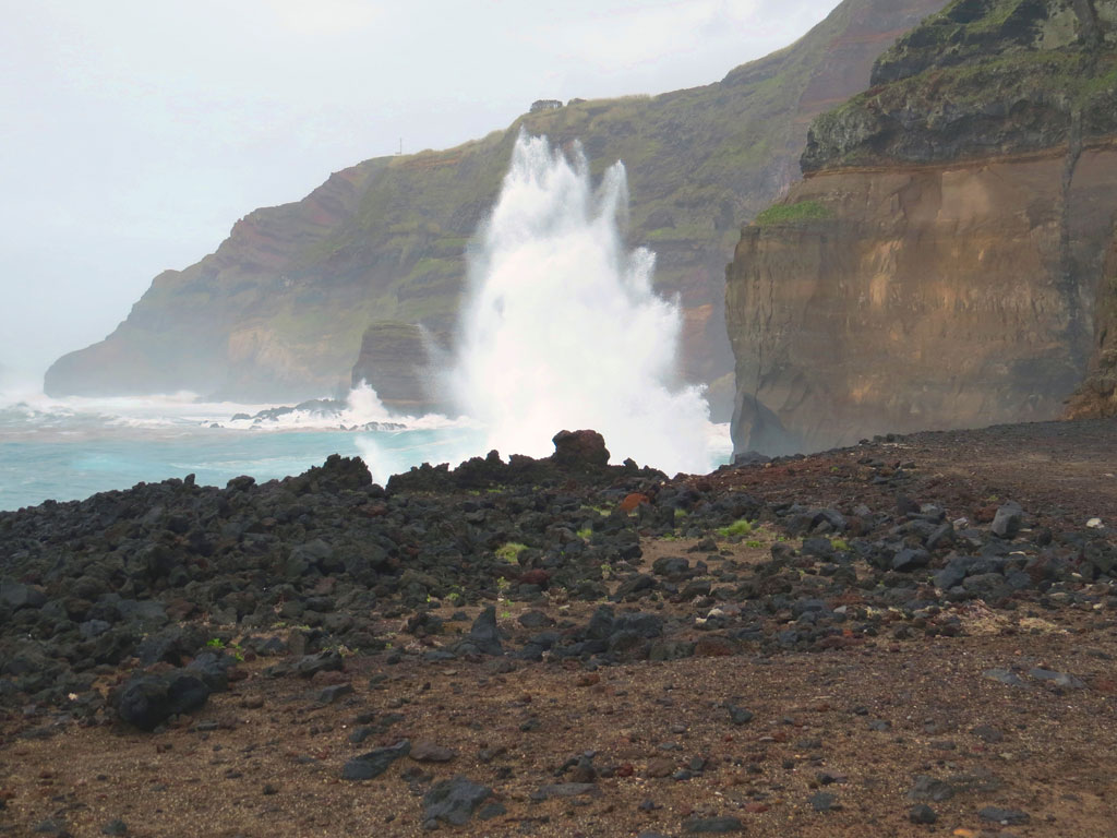 The rugged coast and black sand beaches of the Azores; By Gary Griggs