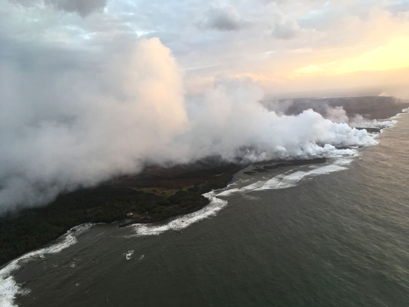 Lava from the Kilauea volcano has added nearly 700 acres to Hawaii's Big Island