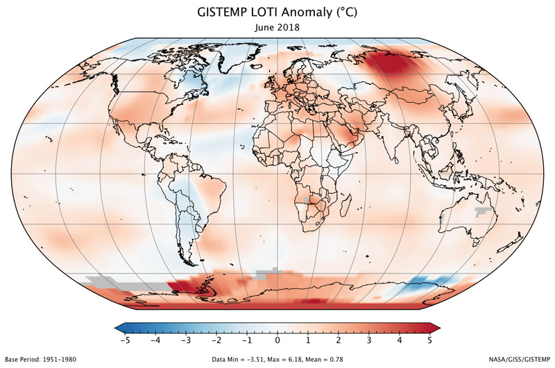 June 2018 Ties for Third Warmest June on Record