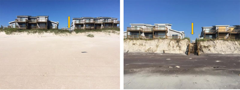 North Topsail Beach, NC: before and after hurricane Florence