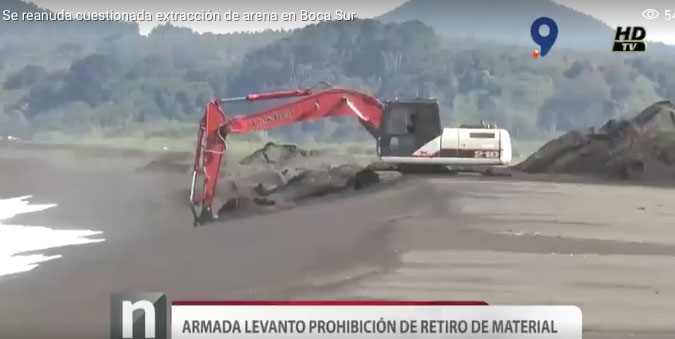 Beach sand mining, Chile; Video
