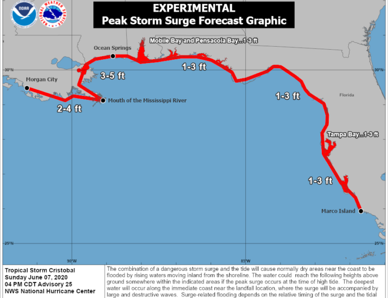 Tropical Storm Cristobal nears landfall in Louisiana with dangerous coastal and inland flooding