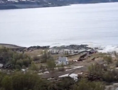 Powerful coastal landslide: buildings swept away in Alta, Norway