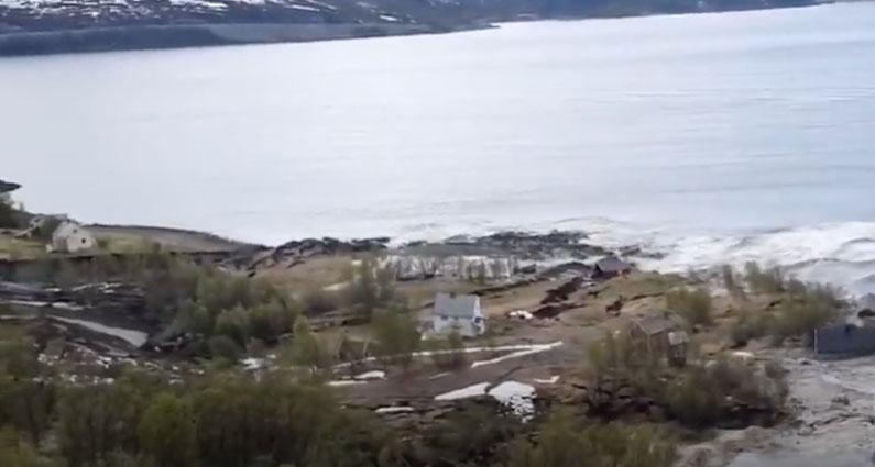 Powerful coastal landslide: buildings swept away in Alta, Norway