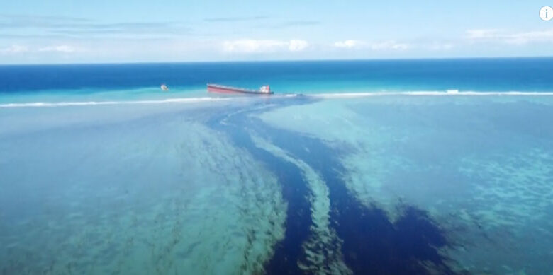 A cargo ship leaking tons of oil off the Mauritius coast has split in two